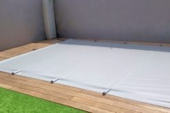 solid pvc light grey pool cover