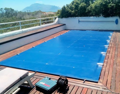 dark blue solid reinforced pool cover